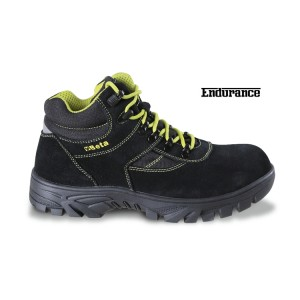 Suede ankle shoe with nylon inserts, durable rubber outsole and quick opening system WR (water-resistant) footwear