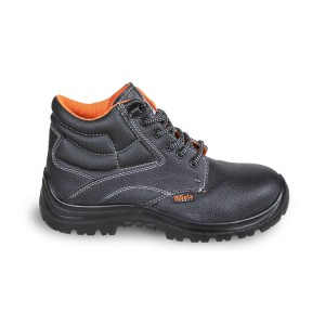 Leather ankle shoe, water-repellent,  with quick opening system