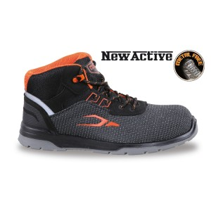 Fabric ankle shoe, highly resistant to abrasion, with quick opening system and heel stability support
