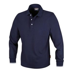 Three-button polo shirt, long-sleeved, 100% cotton, 200 g/m2, blue