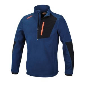 Stretch microfleece sweater, short-zipped