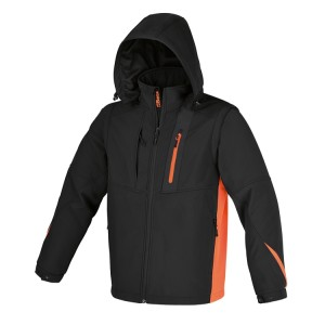 Softshell jacket with detachable hood and sleeves