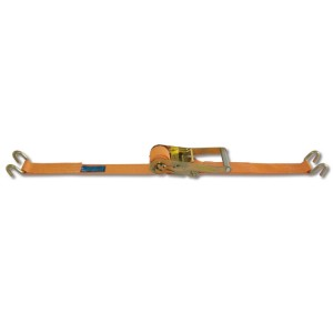 Ratchet tie down with double hook, LC 2000kg high-tenacity polyester (PES) belt