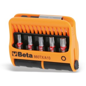 Set of 10 bits with magnetic bit holder in plastic case