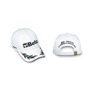 Cap, 100% cotton, one size-fits-all  adjustable buckle strap,  directly embroidered front, sides and back,  white