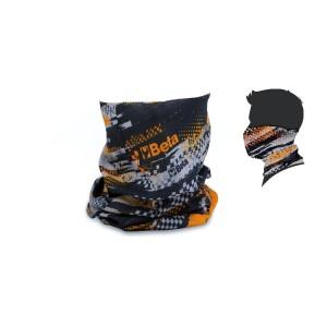 Tubular neck scarf, multipurpose, 100% polyester microfibre, seamless