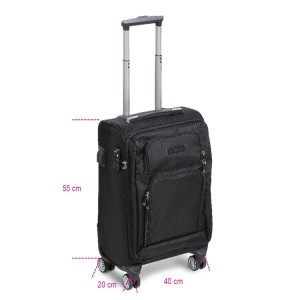 Cabin-size trolley with 4 double wheels, TSA lock, USB port + 3.5-mm jack