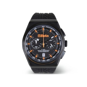 Chronograph, steel case, 5 ATM water resistant, silicone strap