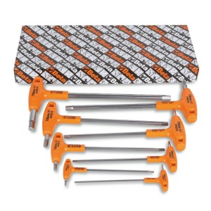 Set of 8 offset hexagon key wrenches, with high torque handles, made of stainless steel