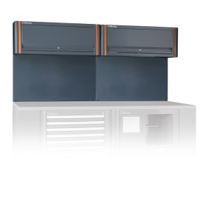 Tool wall system with 2 suspended cabinets, for workshop equipment combination