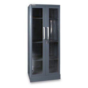 Sheet metal tool cabinet with two clear polycarbonate doors, for workshop equipment combination RSC55