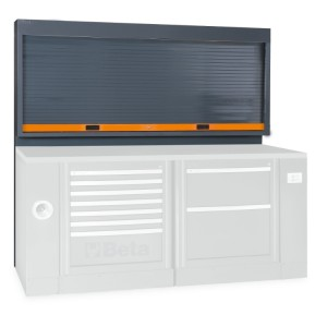 Tool wall system with shutter, for workshop equipment combination