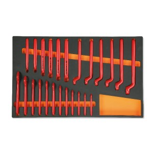 Foam tray for electrotechnical maintenance, insulated tools, 1000V