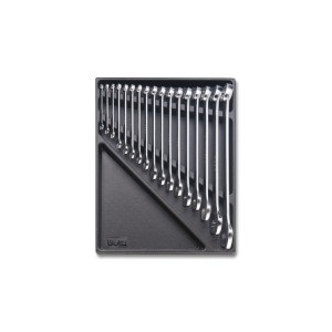 Hard thermoformed tray with combination wrenches