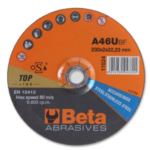 Abrasive steel and stainless steel cutting discs, thin, with depressed centre