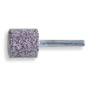 Abrasive shaft-mounted wheels, abrasive grey/pink corundum grains, ceramic bonded, cylindrically shaped