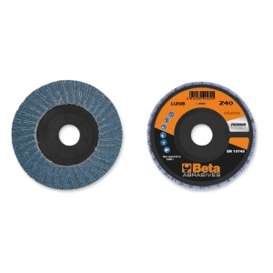 Flap discs with zirconia abrasive cloth, plastic backing pad, double flap construction