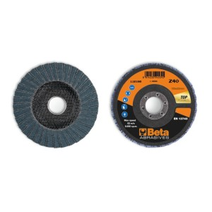 Flap discs with zirconia abrasive cloth, fibreglass backing pad, double flap construction