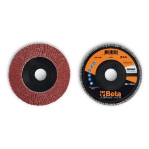 Flap discs with corundum abrasive cloth, plastic backing pad, single flap construction