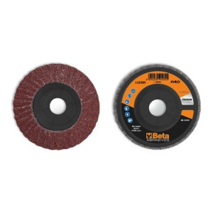 Flap discs with corundum abrasive cloth, plastic backing pad, double flap construction