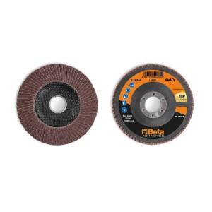 Flap discs with corundum abrasive cloth, fibreglass backing pad, single flap construction