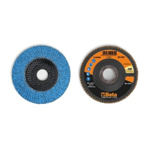 Flap discs with ceramic-coated zirconia abrasive cloth, fibreglass backing pad and single flap construction