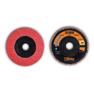 Flap discs with ceramic-coated abrasive cloth, plastic backing pad and single flap construction