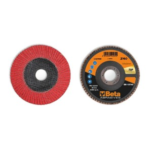 Flap discs with ceramic-coated abrasive cloth, fibreglass backing pad and single flap construction