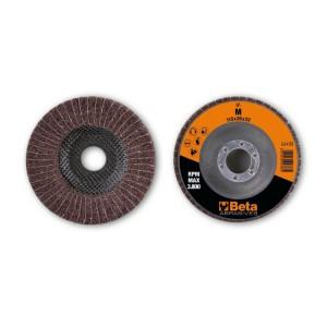 Flap/non-woven radial discs, abrasive cloth alternating with corundum synthetic fibres