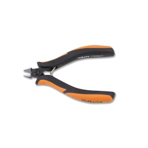 Diagonal flush cutting nippers,  rounded tips bi-material handles