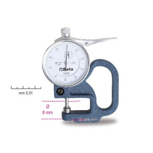 Thickness gauge with dial indicator,  reading to 0.01 mm.
