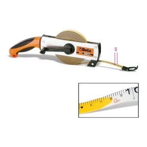 Measuring tape with handle,  aluminium casing, varnished steel tape, precision class II