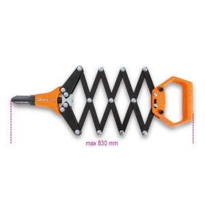 Lazy tongs riveter, supplied  with 5 interchangeable nozzles