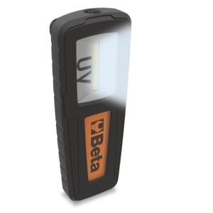 Rechargeable UV and white light inspection lamp ideal for detecting leaks