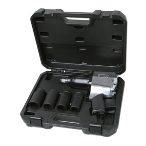 Assortment of one reversible impact wrench and four impact sockets, long series