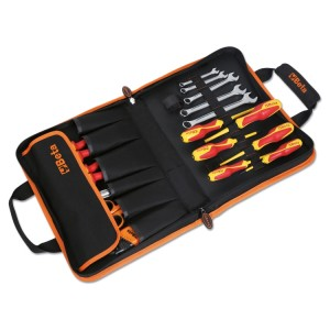 Folding tool case with assortment of 24 tools, for electricians