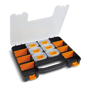Organizer tool case with 6 removable tote-trays and adjustable partitions