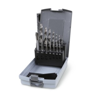 Set of 7 machine taps, ISO metric thread, coarse pitch, and 7 twist drills with cylindrical shanks for predrilling, entirely ground, HSS