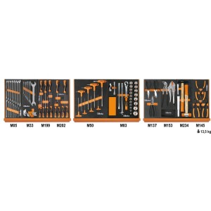 Assortment of 91 tools for universal use in EVA foam trays