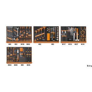 Assortment of 151 tools for universal use in EVA foam trays