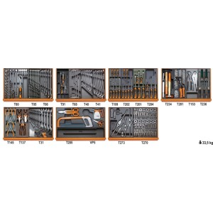 Assortment of 232 tools for industrial maintenance in ABS thermoformed trays