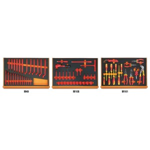Assortment of 66 tools for electrotechnical maintenance, EVA foam trays