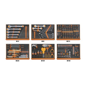 Assortment of 214 tools for universal use in EVA foam trays