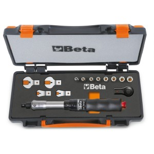 Assortment of 1 torque bar item 604B/10, 1 reversible ratchet, 8 hexagon sockets and 4 open jaw wrenches in sheet metal case with soft thermoformed tray