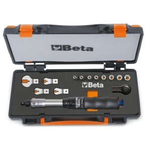 Assortment of 1 torque bar item 604B/5, 1 reversible ratchet, 8 hexagon sockets and 4 open jaw wrenches in sheet metal case with soft thermoformed tray