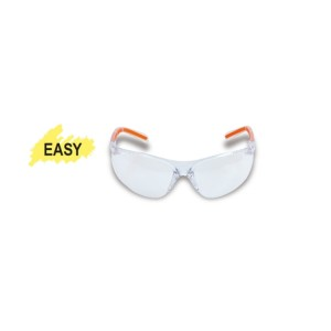 Safety glasses with clear polycarbonate lenses