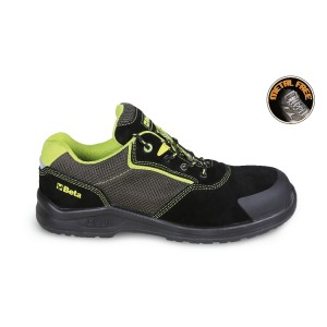 Suede shoe with highly breathable mesh inserts and anti-abrasion reinforcement in toe cap area
