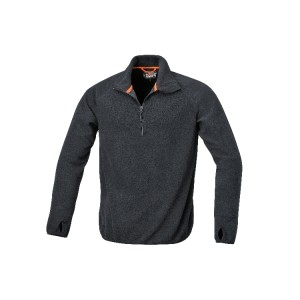 Microfleece sweater, short-zipped