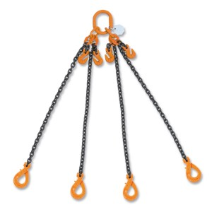 Lifting chain slings, 4 legs, with self-locking and clevis grab hooks, grade 8
