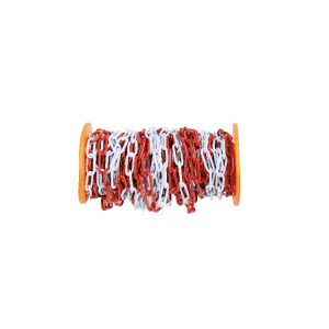 Barrier chain, made of galvanized metal painted in red and white
